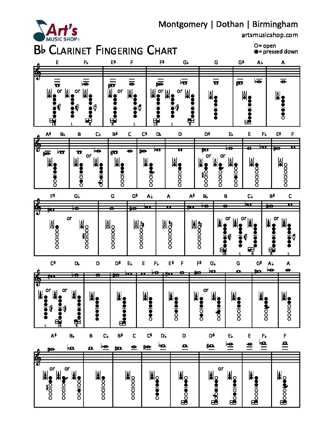 art's clarinet fingering chart